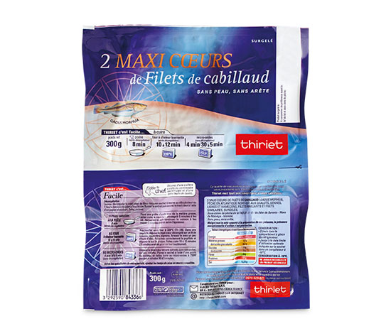 Lot de 2 x 2 Maxi coeurs de filets de cabillaud