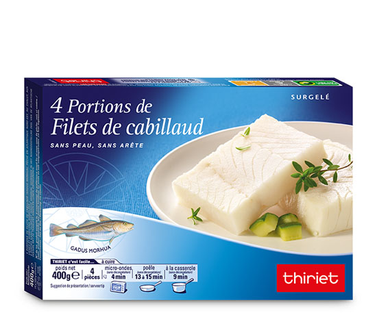 4 Portions de filets de cabillaud