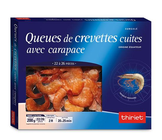 Queues de crevettes cuites avec carapace - 22/26 p