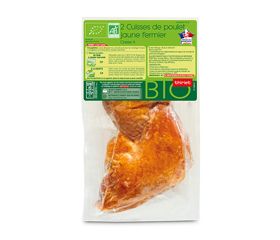 2 Cuisses de poulet jaune fermier biologique