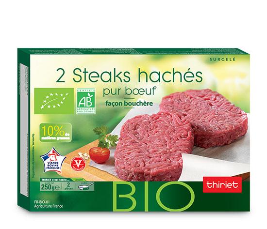 2 Steaks hachés biologiques pur boeuf 10% M.G.