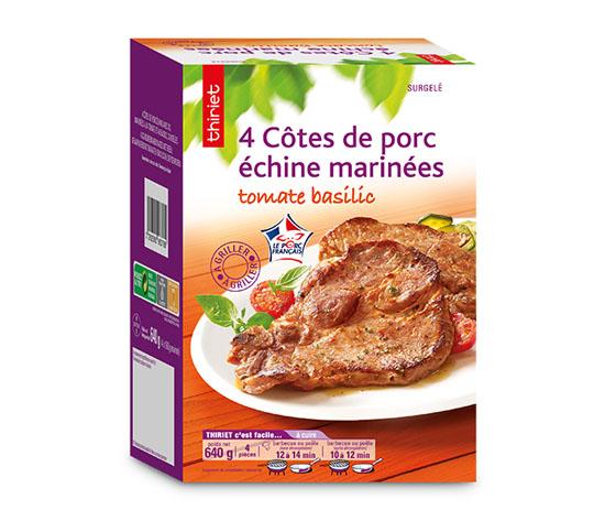 4 Côtes de porc échine marinées tomate/basilic