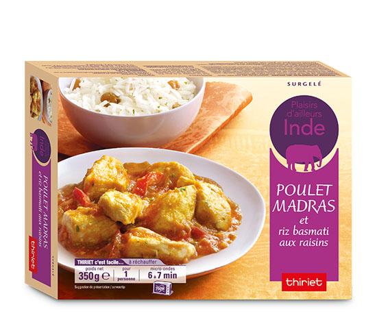 Poulet madras et riz basmati aux raisins