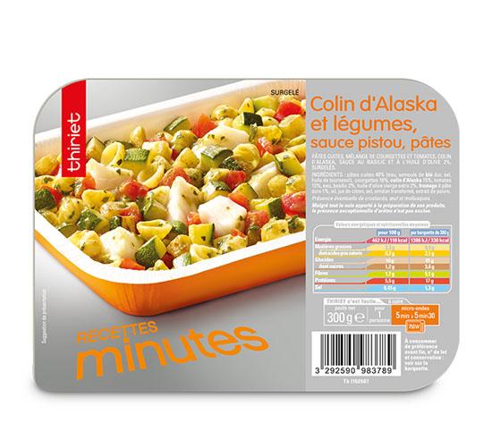 Colin d'Alaska et légumes, sauce pistou, pâtes