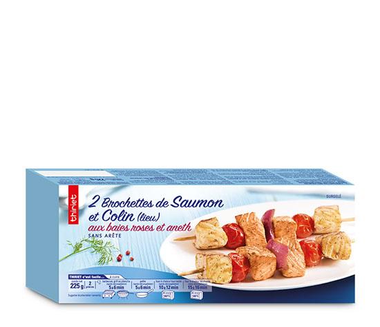 4 Brochettes saumon/colin lieu baies roses-aneth