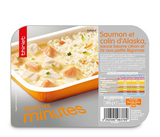 Saumon/colin d'Alaska, sauce beurre citron et riz