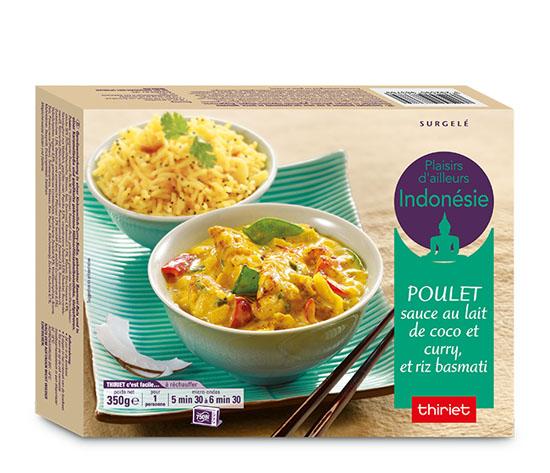 Poulet, sauce au lait de coco/curry et riz basmati