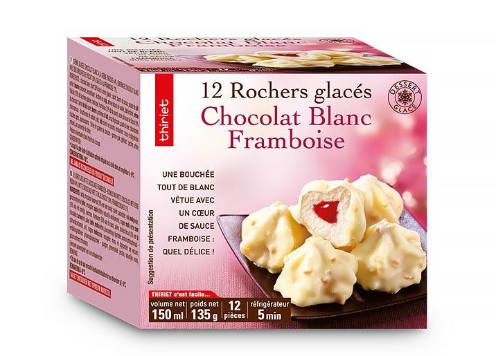 12 Rochers glacés chocolat blanc/framboise