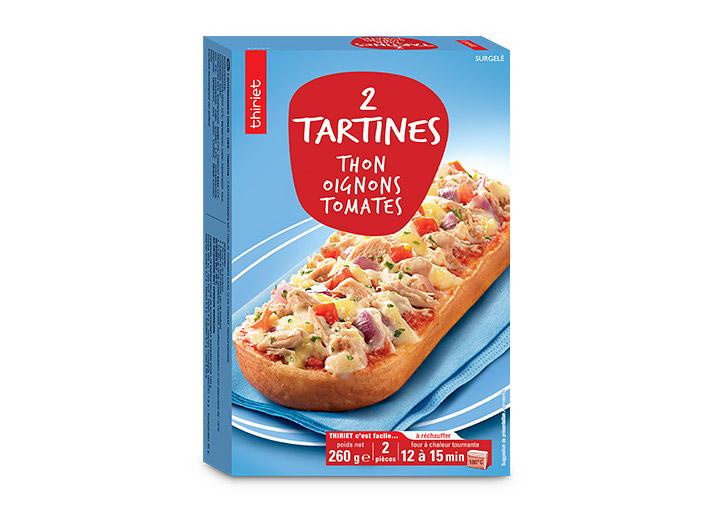 2 Tartines thon, oignons, tomates