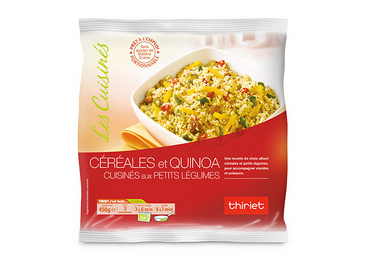 Céréales et quinoa cuisinés aux petits légumes