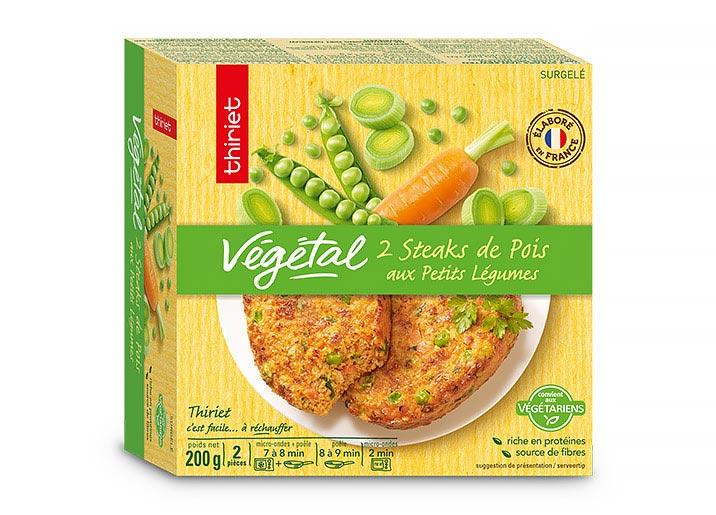 2 Steaks de pois aux petits légumes