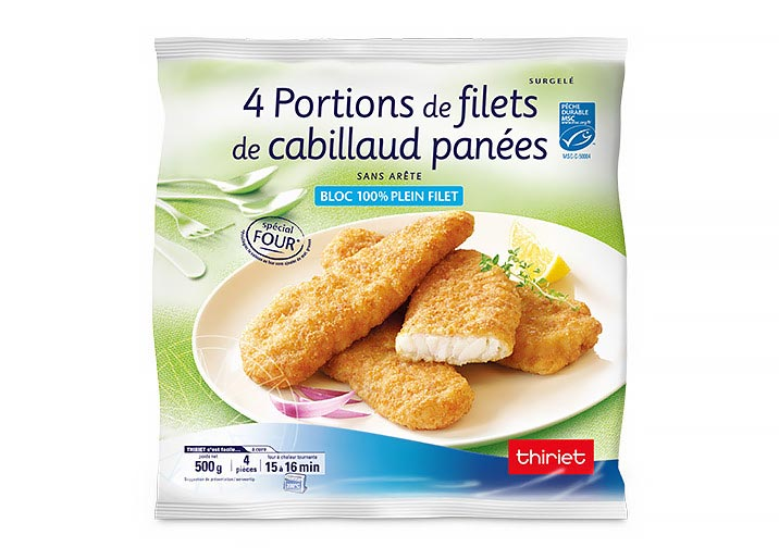 4 Portions de filets de cabillaud panées
