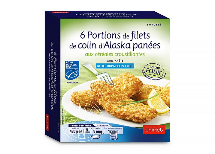 6 Portions panées de filets de colin d'Alaska