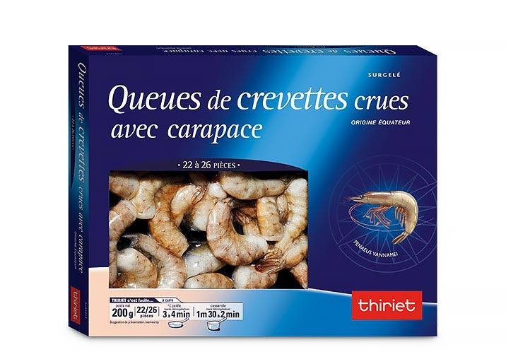 Queues de crevettes crues avec carapace