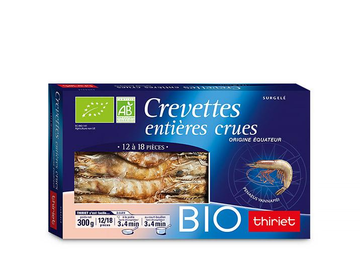 Crevettes entières crues Biologiques
