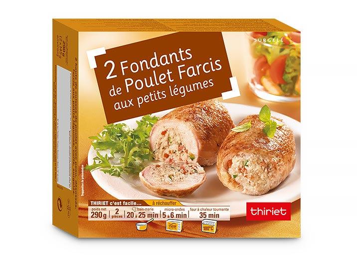2 Fondants de poulet farcis, farce petits légumes