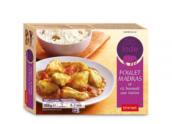Poulet au curry madras et riz basmati aux raisins