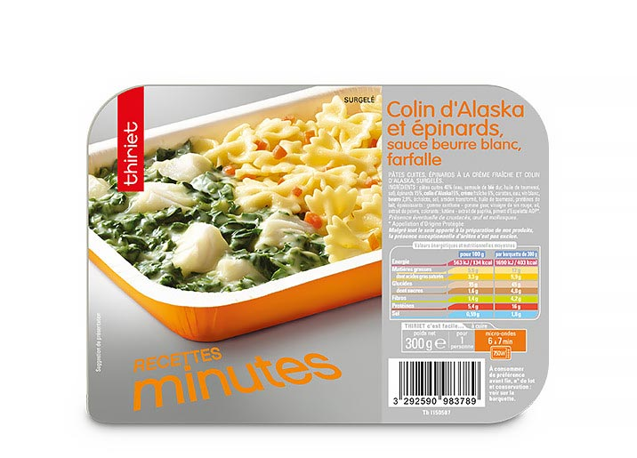 Colin Alaska, épinards, sauce beurre bl., farfalle