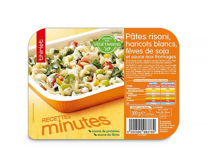 Pâtes risoni, haricots blancs, fèves de soja