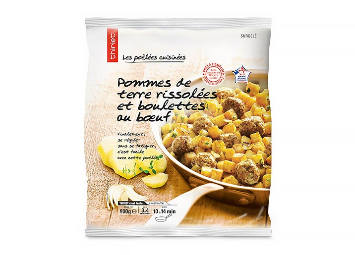 Pommes de terre rissolées et boulettes au boeuf