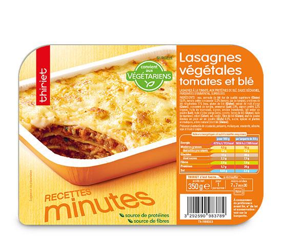 Lasagnes végétales Tomates et blé