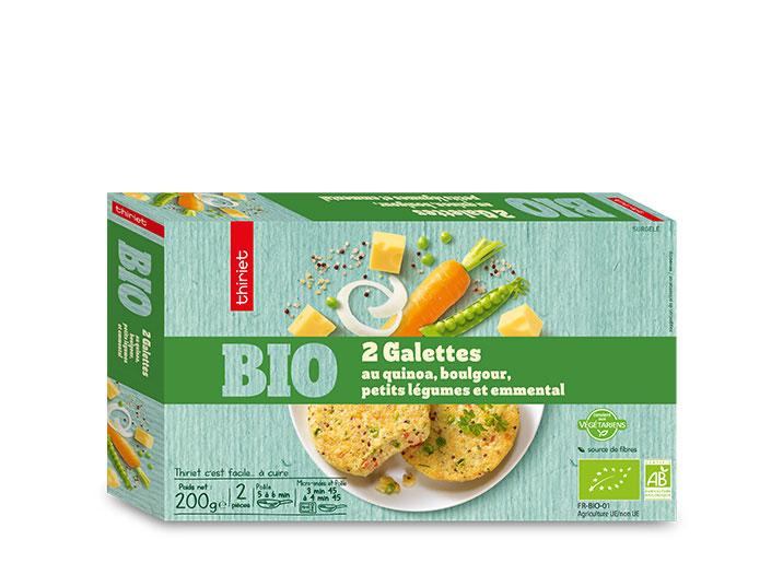 2 Galettes au quinoa, boulgour, légumes, emmental