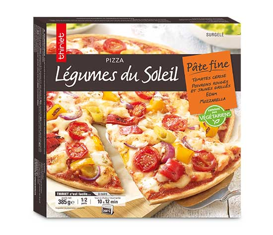 Pizza pâte fine aux légumes du soleil