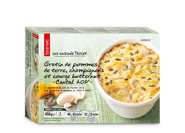 Gratin de pommes de terre, champignons, courge but