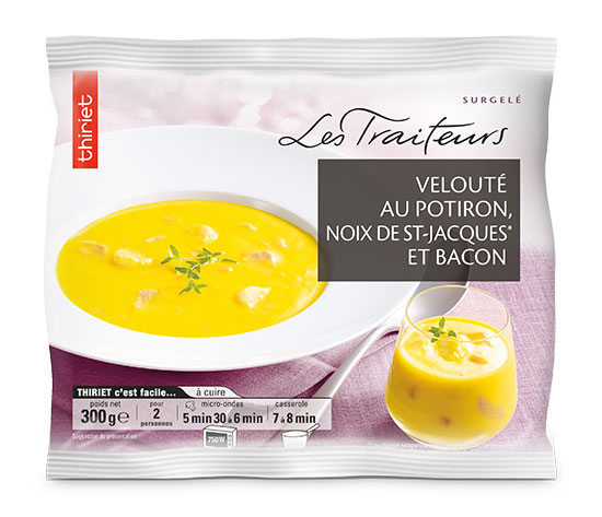 Velouté au potiron, noix de St-Jacques et bacon