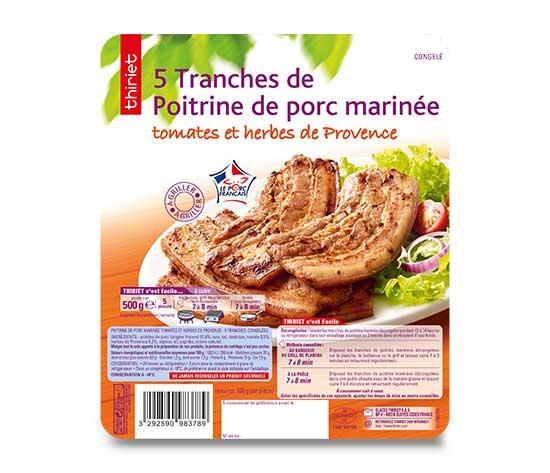 Lot de 2 x Poitrine porc marinée tomates, herbes de Provence