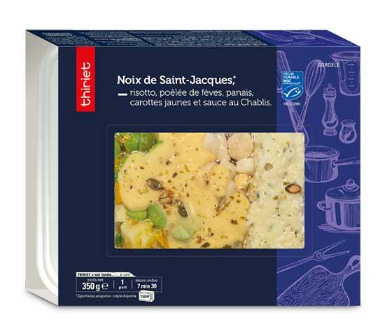 Noix de St-Jacques, risotto et poêlée de fèves