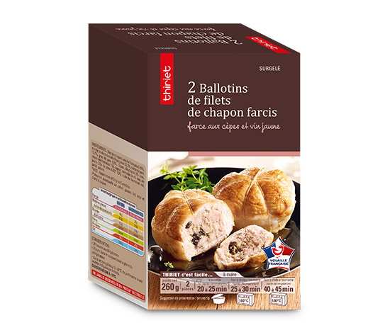 2 Ballotins de filets chapon farcis cèpes et vin