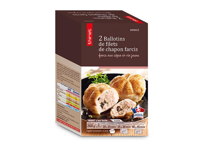 2 Ballotins de filets chapon farcis cèpes et vin