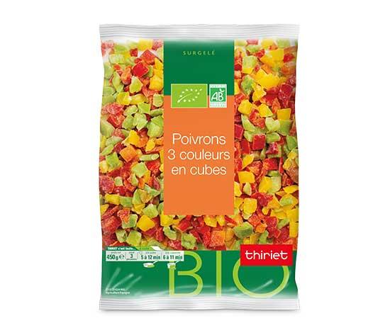 Poivrons 3 couleurs en cubes biologiques