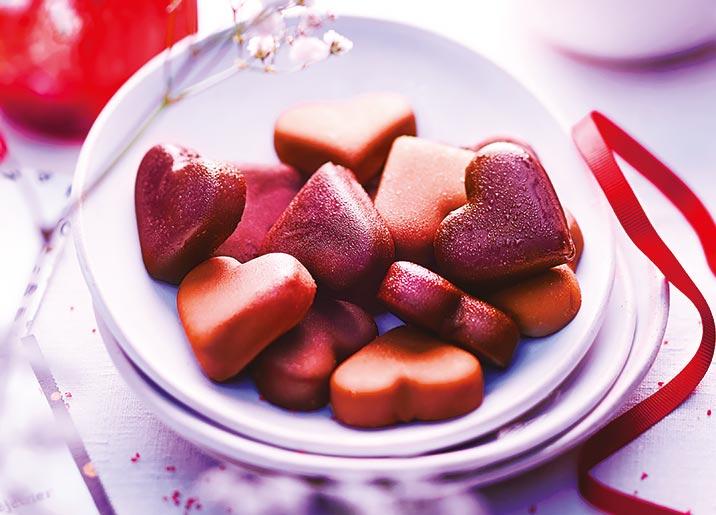 Assortiment de cœurs glacés vanille/chocolat