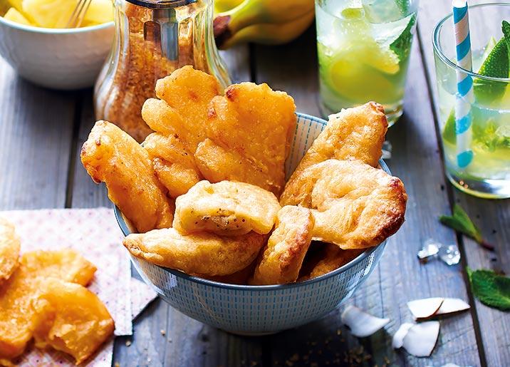 Assortiment de 12 mini beignets ananas et banane