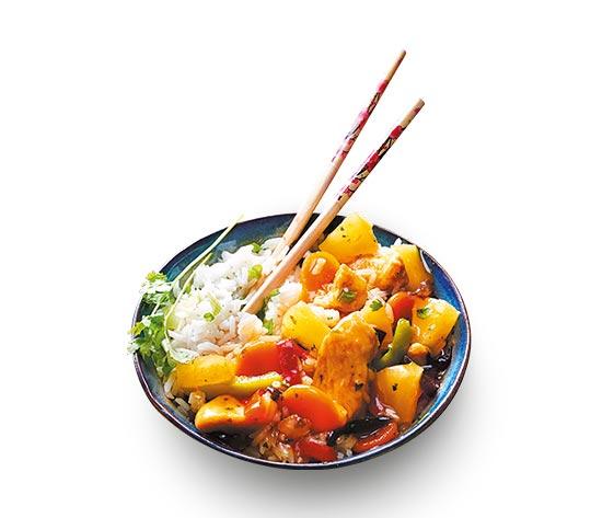 Poulet à l'ananas et riz thaï