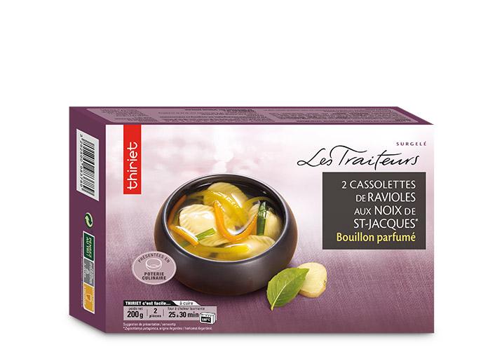 2 Cassolettes de ravioles aux noix de St-Jacques*
