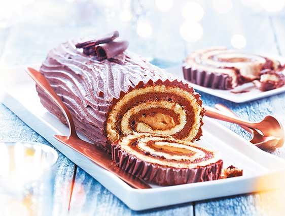 Bûche roulée chocolat-praliné