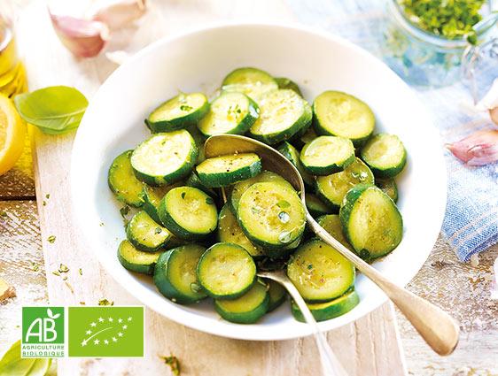 Légumes bio - Courgettes en rondelles biologiques