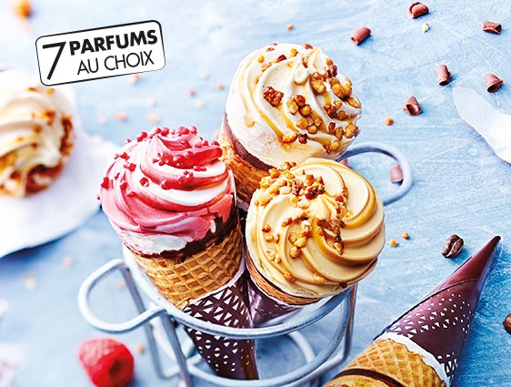 Glaces et desserts glacés - Cornets Exalto Framboise-Façon chantilly