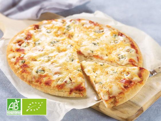 Pizza aux trois fromages biologique