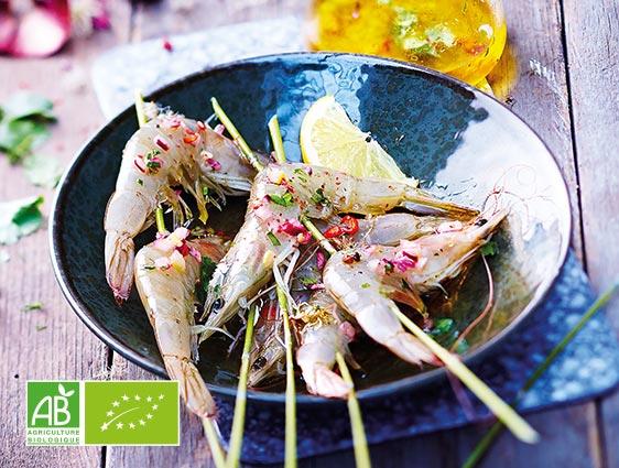 Poissons et crustacés - Crevettes entières crues Biologiques