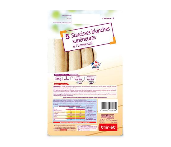 5 Saucisses blanches supérieures à l'emmental