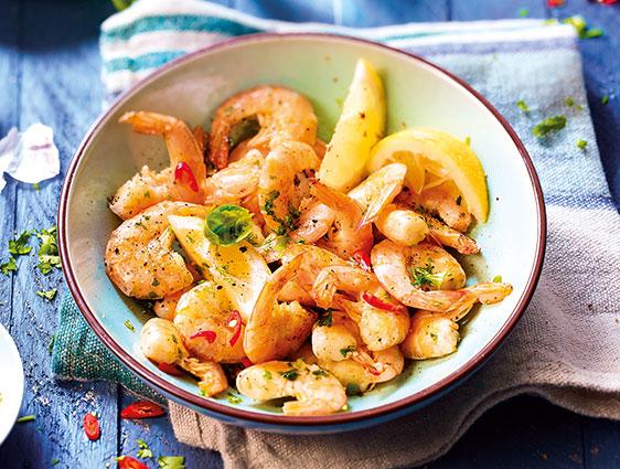 Poissons et fruits de mer - Queues de crevettes cuites avec carapace