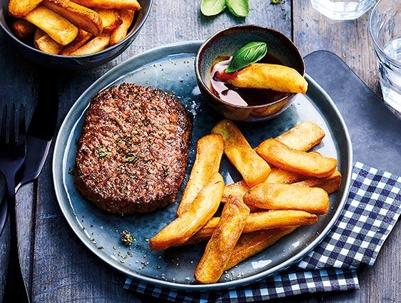 Viandes origine France - Steaks hachés achetés = Frites au choix offertes !