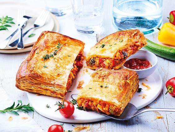 Entrées - Feuilleté légumes du soleil-mozzarella