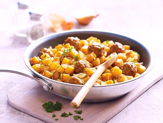 Plats à partager - Pommes de terre rissolées et boulettes au boeuf