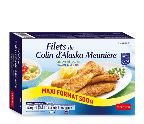 Lot de 2 x1 Filets de colin d'Alaska meunière citron/persi