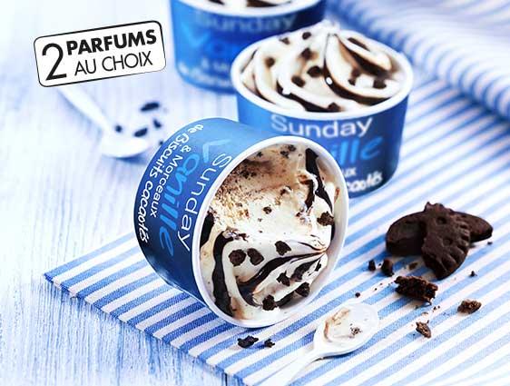 Glaces et desserts glacés - Sunday vanille et morceaux de biscuits cacaotés